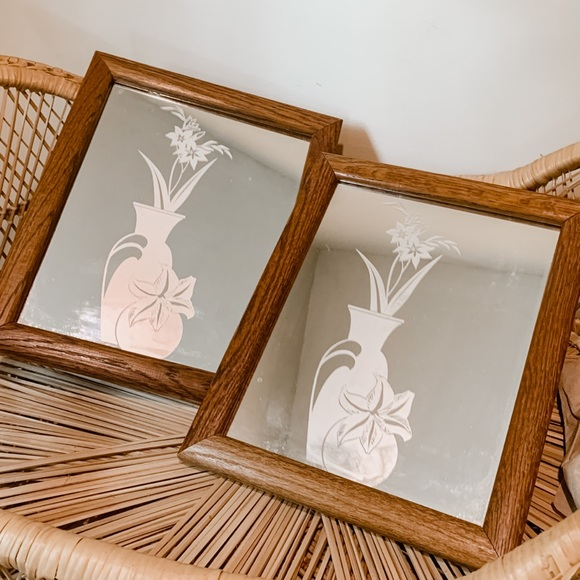 Pair of Vintage Retro Etched Wood Frame Mirrors